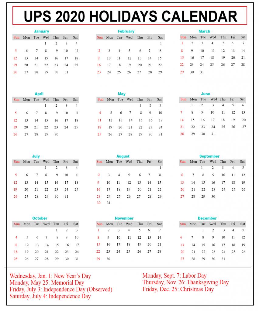 UPS Holiday 2020